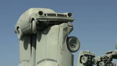 Cars stacked upon one another at Carhenge Stock Footage