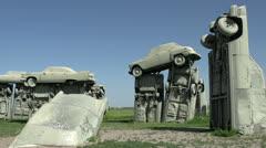 Carhendge car arrangement in Nebraska Stock Footage
