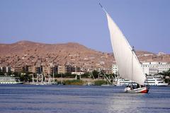 cruise on egyptian felucca - stock photo