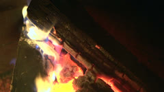 Flames in fire pit time lapse Stock Footage