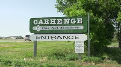 Entrance to Carhenge in Alliance Nebraska Stock Footage