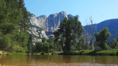 Yosemite falls and merced river 60fps Stock Footage