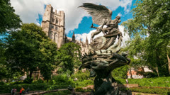 Winged Statue in NYC Manhattan New York City Sculpture Time-Lapse St Johns Stock Footage