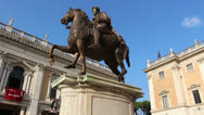 Stock Video Footage of Emperor Marcus Aurelius in Piazza del Campidoglio, Ro
