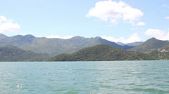 The view from a boat floating - Lake Skadar in Montenegro Stock Footage