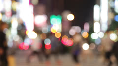 Pedestrians - people walking in city night Stock Footage