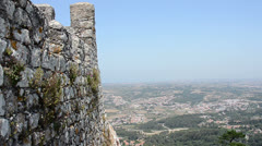 View from Castle of the Moors (Sintra) down to valley and village Stock Footage