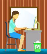 working with computer - stock illustration