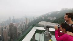 Hong Kong Victoria Peak tourists couple Stock Footage