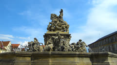 Germany Bavaria Bayreuth Hofgarten Palace garden park fountain - stock footage