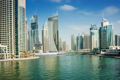 High rise buildings in dubai marina Stock Photos