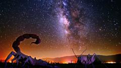 Galaxy Milky Way timelapse night sky over giant scorpion and insect cricket Stock Footage