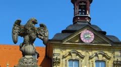Unesco Bamberg tourists old town Town Hall architecture on Regnitz river Stock Footage