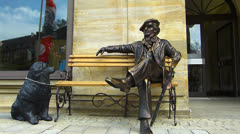 Music Composer Richard Wagner sculpture in Bayreuth Stock Footage
