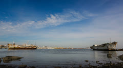 Abandoned ships by the sea harbor in Montevideo Stock Footage