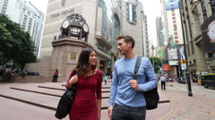 Hong Kong, Times Square Causeway Bay people wallking Stock Footage