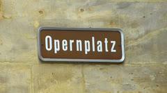 Germany Bavaria Bayreuth opera house Operplatz sign Stock Footage