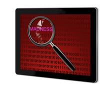 close up of magnifying glass on madness - stock illustration