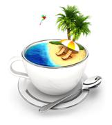 3d cup of paradise - stock illustration