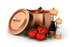 3d soup with ingredient - stock illustration