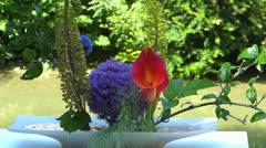 Ikebana traditional Japanese flower arrangement - stock footage