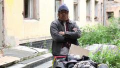 Portrait of a homeless Stock Footage