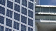 Office building - close up detail + pan traverse Stock Footage