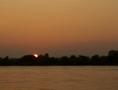 Sunrise over the river Rhine, wide shot time lapse Stock Footage