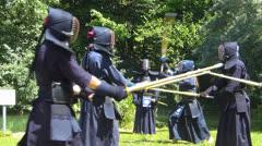 "Traditional Japanese Kendo ""Budo"" with Shinai Bamboo sword Stock Footage"