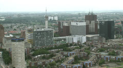 THE HAGUE high angle view of Business center Bezuidenhout with WTC office Stock Footage