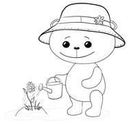 teddy bear watering a flower, contour - stock illustration