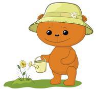 teddy bear watering a flower - stock illustration