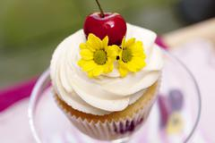 Cupcake with cherries and flower Stock Photos