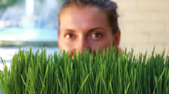 Woman with sprouts Stock Footage
