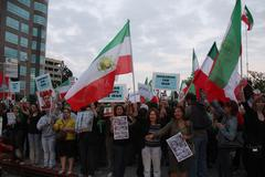 .los angeles iranian protest rally .held at los angeles federal building.los - stock photo