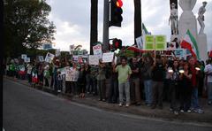 .los angeles iranian protest rally .held at los angeles federal building.los Stock Photos