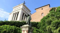 Statue of Cola Di Rienzo in Rome - dolly 2 Stock Footage