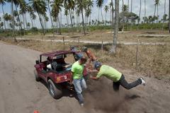 Teamwork whit a buggy pernambuco brasil Stock Photos