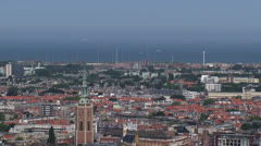 THE HAGUE Pan city skyline with North Sea in background Stock Footage