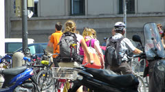 Zebra cross near Munich LMU University students pedestrians crossing Germany Stock Footage