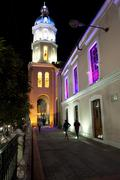 nighttime church otavalo ecuador sudamerica - stock photo