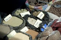 Spices to sell otavalo ecuador sudamerica Stock Photos