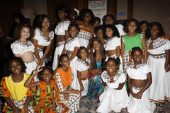 claudia jordan and pageant contestants.16th annual little miss african americ - stock photo