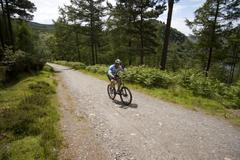 Mountain bike up the hill glendalohg national park irland Stock Photos