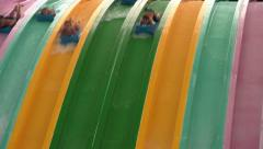 Screamin People Racing Down Orlando Water Slides (with Sound) Stock Footage