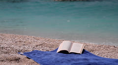 The wind tuns over the pages of a book in front of the sea Stock Footage
