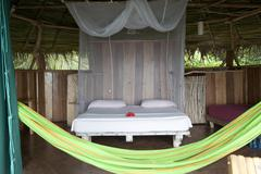 tropical lodge room bocas del toro panama - stock photo