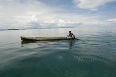 Fisherman sailing kuna yala panama Stock Photos