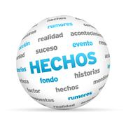 Facts word sphere (in spanish) Stock Illustration