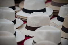 hats from panama city central america - stock photo